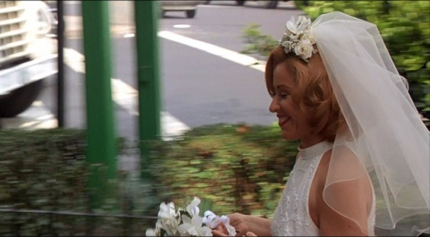 The bride on her way to the alter.