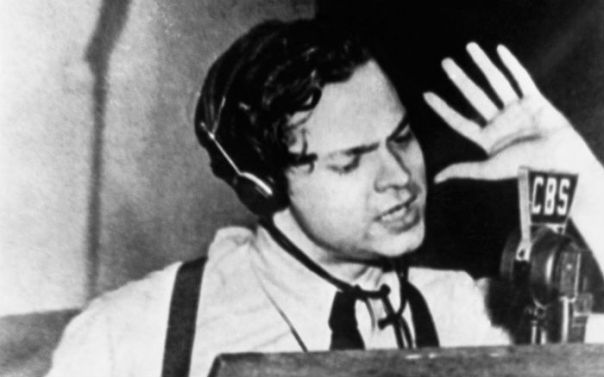 A shot of Welles during one of his radio broadcasts.